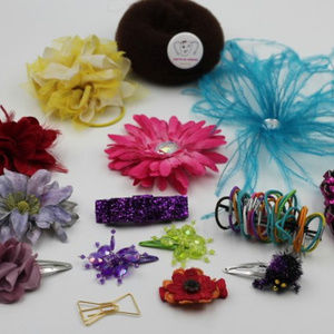 Mixed LOT of Young Girl's Hair CLIPS, Pink Belt